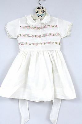 "VTG 50's  White Cotton W Pink Flower Ribbon  Girl's Dress 26"" Chest  Doll Sz 6"