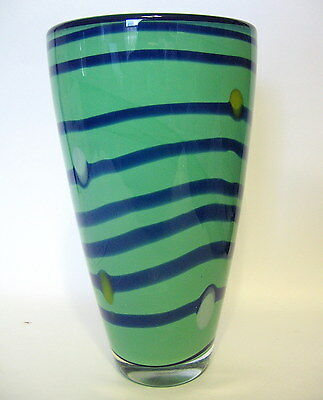 Abstract Green Art Glass Vase Hand Blown 8 Inch With Blue Swirl
