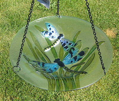 Dragonfly Bird Bath Iron Chain Hanging Purple Blue Dragonflies Green Leaves New