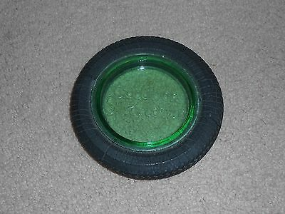 Old Goodrich Silvertowns Green Glass & Rubber Tire Ashtray Advertising
