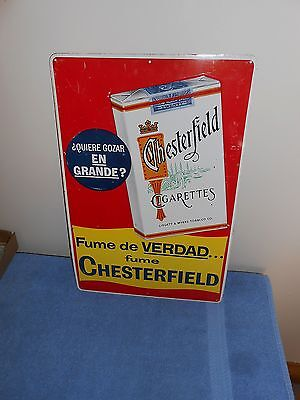 Old Embossed Pack Letters Chesterfield Cigarettes Tobacco Advertising Metal Sign
