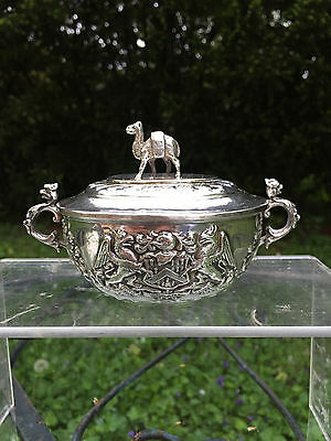 Antique 1898 London English Sterling Silver Gilt Interior Covered Bowl Box CAMEL