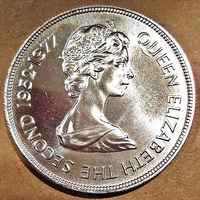 Large Mauritius 1977 Qeii Silver Jubilee Silver 25 Rupees Coin (Km# 43)