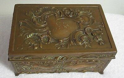 Antique Jewelry or Trinket Box Art Nouveau Jennings Brothers #752 Hinged