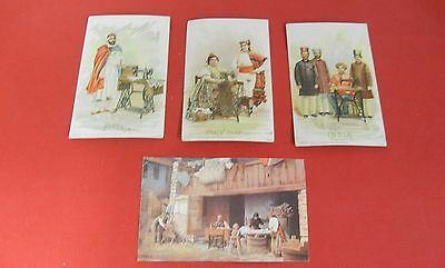4 Singer Sewing Machine Advertising Trade Cards Algeria Spain India Italy