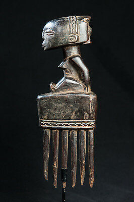Luba, Comb with Female Ancestor Sculpture, D.R. Congo, Central African art