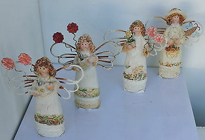 Set of 4 miniature fairy garden figurines metal wings rustic country old world