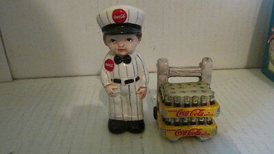 Coca Cola Delivery Boy & Dolly with Soda Salt & Pepper Shakers 1998