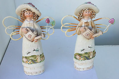Set of 2 fairy garden figurines metal wings rustic country old world carved