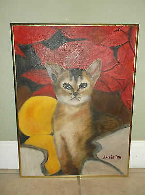 """Portrait Of A Cat Oil On Board Signed """"jackie '86"""""""