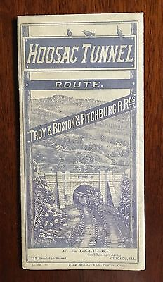Original 1883 Folding map of eastern US showing the Hoosac Tunnel Route