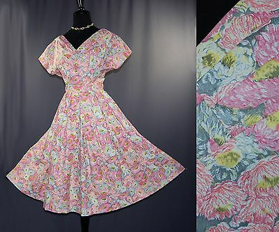 Vintage 50s Pink Floral Print Cotton Day Dress M L
