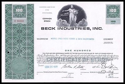 1970 Beck Industries Inc Green 100 Share Common Stock Certificate - WYSIWYG! VF+