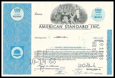 American Standard 1960s BLUE 100 Share Stock Cert - Famous Throne Makers - VF+