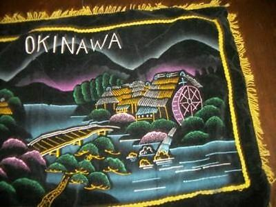 Vintage Painted Black Velvet Pillow Cover Souvenir Okinawa Chic Shabby