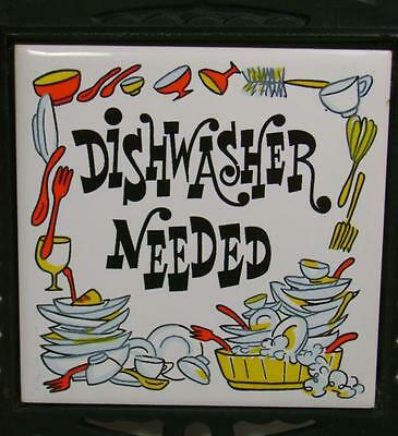 Black Iron Tile Trivet Humor Dishwasher Needed Country Rustic Cabin Wall Hanging