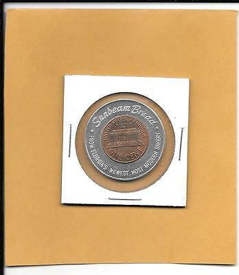 FLORIDA Encased Cent - SUNBEAM BREAD BAKERY - 1959 Florida Lucky Penny - Vintage