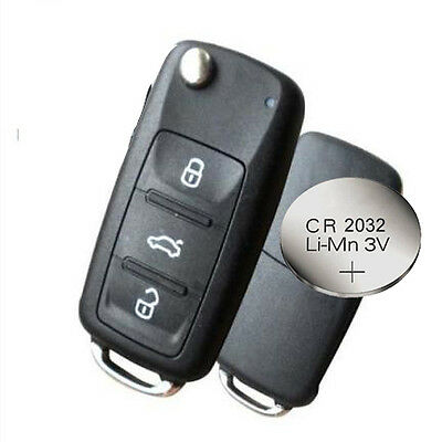 Fits VW Polo GOLF MK6 Transporter 3 Button Remote Key FOB shell case + BATTERY