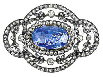 3.25cts ROSE CUT ROUND DIAMOND BLUE SAPPHIRE .925 STERLING SILVER / BROOCH PIN