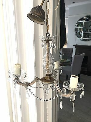 vintage three arm cut glass crystal and brass chandelier