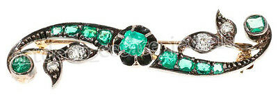 0.60ct ROSE CUT DIAMOND EMERALD .925 STERLING SILVER BROOCH PIN