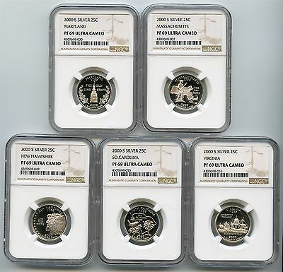 2000 S Silver Proof State Quarters NGC PF69 Ultra Cameo Set