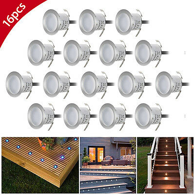 16pcs Recessed LED Deck Lighting Kits Outdoor Pool Deck Light Warm White Durable