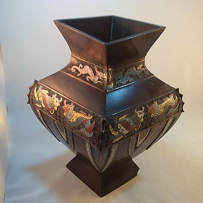 Chinese/Japanese Bronze V.Large Cloisonne/Champlevé Vase - Art Deco Early 20th C
