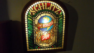 Rare Large  Vintage 1977 Schltz Beer Lighted Stained Glass Look Sign Union Made