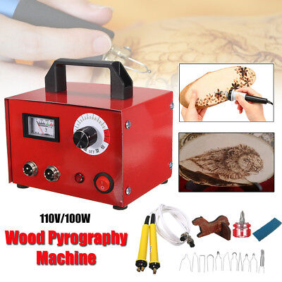 110V 100W Gourd Wood Multifunction Pyrography Machine Crafts Woodwork Tool Kit