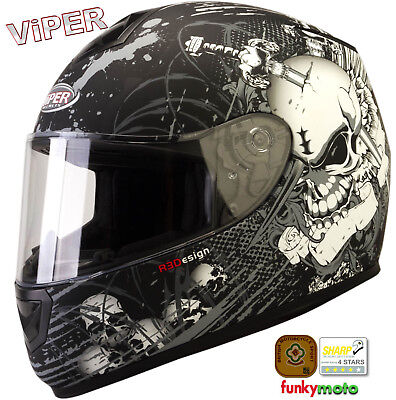 Viper Rs-250 Morte Moto Crash Integral Acu Ece Homologado Casco Plata Mate