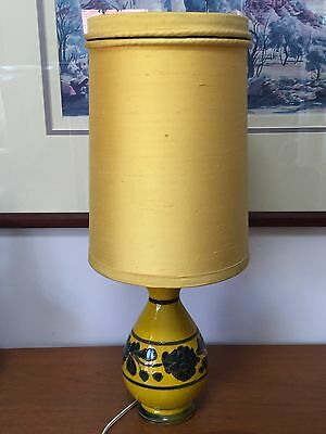 Fab Vintage Mid Century Yellow Art Pottery Lamp ~ Italy ~Original Shade ~ Retro