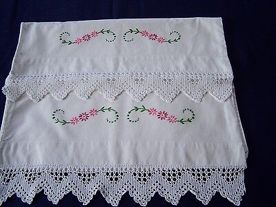 Pair Of Vintage White Cotton Pillowcases With Hand Embroidery & Hand Crochet
