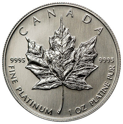 Random Date Canada 1 Troy Oz .9995 Platinum Maple Leaf $50 Coin SKU33491