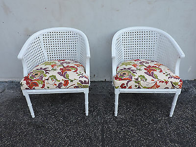 Pair of Mid-Century Hollywood Regency Painted Caned Living Room Chairs 6291