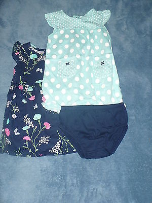 NWT Carter's Girls 3 Piece Floral Dress and Romper Set Size 12 months