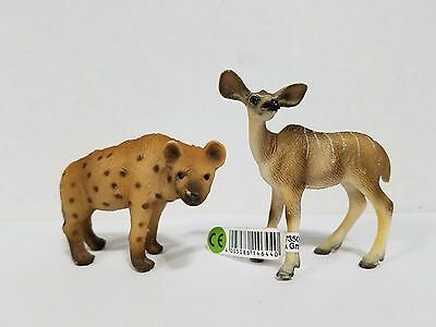 Schleich lot of 2 kudu 14644 & spotted hyena 14347 Retired