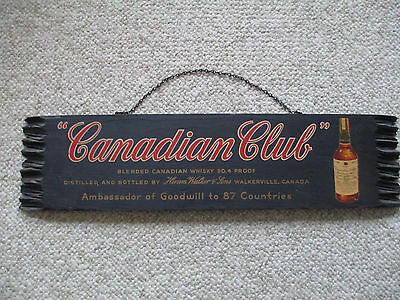VINTAGE  CANADIAN CLUB WHISKY Advertising Wood Sign