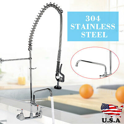 "Commercial Pre-Rinse Faucet Swivel with 12"" Add-On Faucet Kitchen Restaurant Tap"