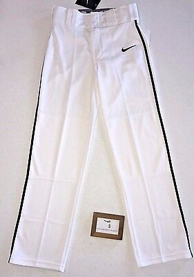 Nike Youth Boys Size Medium White Lights Out Ii Black Piped Baseball Pants Nwt