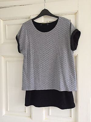 Blooming Marvellous Black And Grey Short Sleeve  Maternity Top Size 10