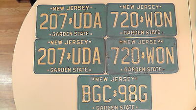 Lot Of 5 Vintage NJ License Plates 2 Sets 1 Single