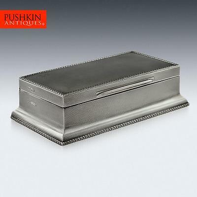 ANTIQUE 20thC SOLID SILVER LARGE CIGAR BOX, WRIGHT & DAVIES, LONDON c.1927