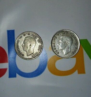 1940 & 1951 90% Silver Canadian Dimes