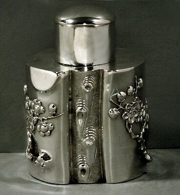 Chinese Export Silver Tea Caddy          SIGNED                    c1890