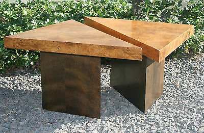 Mid-Century Modern Burl Pair Accent END SIDE coffee Table Style OF Milo Baughman