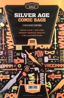 100 CBG Silver Age Comic Book Poly Bags - 7 1/8 X 10 1/2 - 2 mil Archival Safe