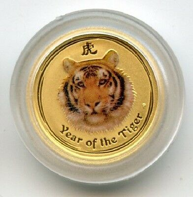 2010 Australia Lunar Tiger $5 1/20 Oz. GEM BU Sealed .9999 Perth Mint Colorized