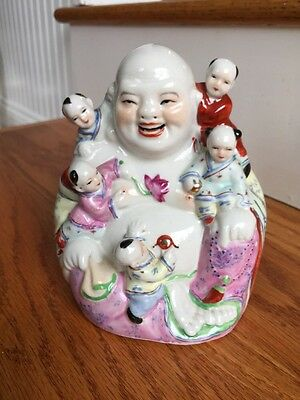 Vintage Chinese Family Porcelain HAPPY BUDDHA  With 5 Children 6 3/4""