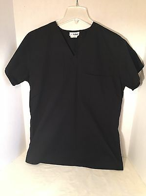 Women's Life Uniform V-Neck Black Uniform Scrub Top Size Small